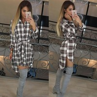 Turn Down Collar Casual Tunic Flannel Dress -5 Color Options-