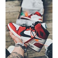 Nike x Off-White Air Jordan 1 Chicago Red High-Top Sneakers shoes