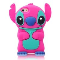 W-RainBow Cute Disney 3d Stitch Pattern Movable Ear Silicone Soft Case for Apple Iphone 5/5s HOT Pink