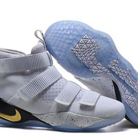 Nike Men's Lebron James Soldier 11 White/Gold Basketball Shoes