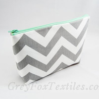 Gray chevron with Mint green accent cosmetic case, clutch, monogramming available