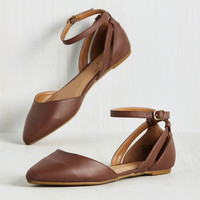 Pep Ahead of the Game Flat in Chestnut | Mod Retro Vintage Flats | ModCloth.com