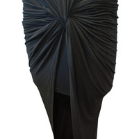 Ruched Knotted Skirt - Black