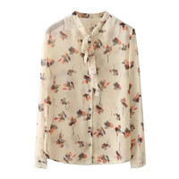Apricot Floral Print Long Sleeve Sheer Button Up Shirt