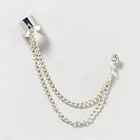 Silver Stud Earring On A Chain Ear Cuff  | Claire's