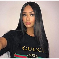 """""""Gucci""""Hot Sale Letters Print Round Collar T-shirt Pullover Top I"""