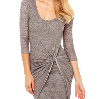 Long Sleeve Knot Wrap Mini Dress