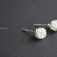 Earrings--925 Sterling Silver ball earrings,Wire Wrapped earrings,simple earrings