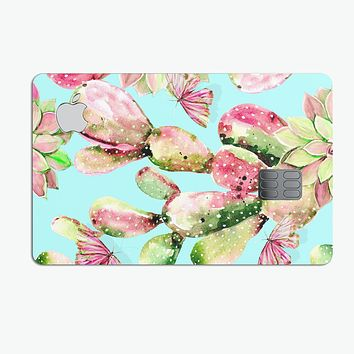 Watercolor Cactus Succulent Bloom V3 - Premium Protective Decal Skin-Kit for the Apple Credit Card
