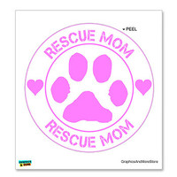 Rescue Mom Paw Print - Pink on White Sticker