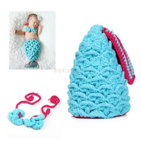 Baby Girl Newborn-9M Knit Mermaid Minnie Clothes Dress Photo Prop Outfit 18374 Apparel & Accessories (Color: Blue) = 1745569668