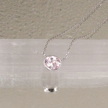 Faint Pink Sapphire in 14k White Gold Bezel Setting with 18inch Cable Chain Christmas Birthday Keepsake Gift for Her