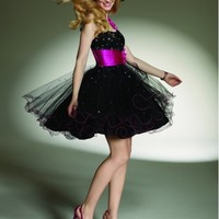 Beautiful Charmeuse Tulle One-Shoulder Strap Prom Dress ML9142