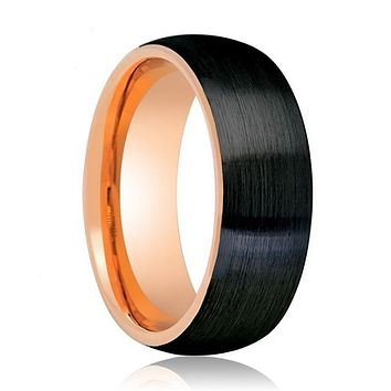 Two Tone Rose Gold and Brushed Black Tungsten Ring