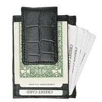 Genuine Leather Money Clip front pocket wallet with magnet clip and card ID Case 910 E Crocodile