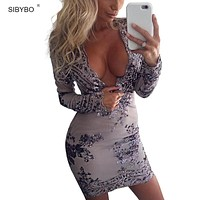 Deep V Neck Long Sleeve Tight Retro Sequin Dress