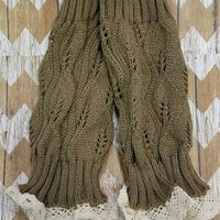 Lace Boot Cuffs - Khaki