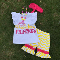 2015 hot sell new kids boutique princess clothing yellow short sets with matching headband and necklace set