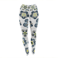 "Jolene Heckman ""Blue Folksy"" Yellow Gray Yoga Leggings"