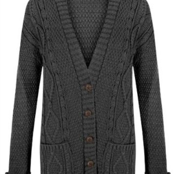 Fashion Valley Womens Long Sleeve Chunky Cable Knitted Button Ladies Grandad Long Cardigan 8-22 Plus Size UK 20-22 XXL Charcoal