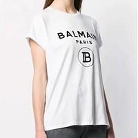 BALMAIN Classic Fashion Women Men Print Short Sleeve Cotton T-Shirt Top