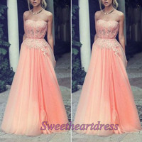 Pretty pink lace strapless long sweetheart evening formal dresses