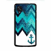Chevron Navy Anchor Sparkly Nexus 5 Case