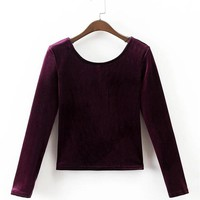 Women Velvet Tops Slim Stretch Sexy Velvet T shirt O-Neck High Quality Basic Cropped Tees