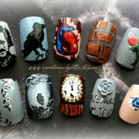 Japanese Nail Art Edgar Allan Poe by Nevertoomuchglitter on Etsy