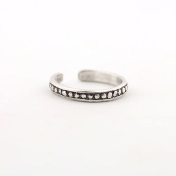 Vintage look sterling silver toe ring Small Ball & Dot design toe ring adjustable toe ring Also knuckle ring (T- 48)
