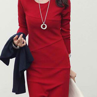 Scoop Neck Long Sleeve Solid Color Slimming Dress