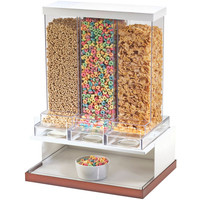 17.5W x 13.5D x 24H Luxe Three Section Cereal Dispenser White Metal Frame/Copper Base