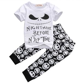 2016 Baby Kids Skull Clothes Set 2pcs Baby Casual T-shirt+Long Pants Outfits Halloween Clothes Set Age 0-18M