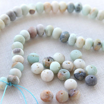 Pick your color, Natural Stone Earrings,  Frosted Matte Amazonite Stones, Antique Bronze Mini Beads, Rustic Boho Tribal Earrings