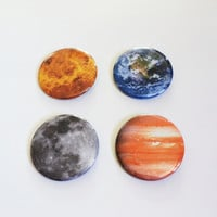 SET OF 4 Planets Pinback Buttons OR Magnets -- 2.25 inch