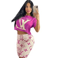 LV Louis Vuitton fashion casual women's printing printing and dyeing summer casual two-piece suit Rose red