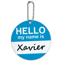 Xavier Hello My Name Is Round ID Card Luggage Tag