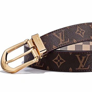 LV Louis vuitton selling a pair of printed monogram checked fashion belts belt