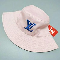 LV Louis Vuitton Popular Women Men Embroidery Shade Sunhat Fisherman Hat Cap Pink