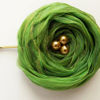 Green Chiffon Roses Hair Bridal Bobby Pin