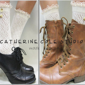 Prairie Girl / City Girl Ivory lace socks for combat boots 3 colors country cowboy boots socks victorian boots Catherine Cole made in usa