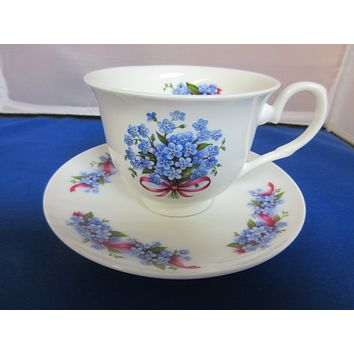 York English Bone China Blue Forget Me Not Teacups and Saucers Set of 2
