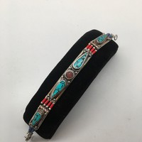 Vintage Nepalese Red Coral & Green turquoise Inlay Statement Bib Bracelet,NPB82
