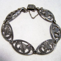 Art Deco Sterling Silver Marcasite Bracelet,  Fold Over Clasp, Curved Links, Vintage Jewelry, Bridal Jewellery, Oval Links 1116