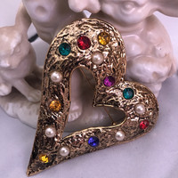 Valentine Be Mine Large Rainbow Gem Etruscan Heart Brooch , Colorful Oversized 80s 90s Costume Jewelry Golden Heart Pin