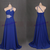 Long royal blue chiffon bridesmaid gowns with train,2014 simple one shoulder dress for party,cheap women prom dress on sale.