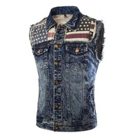 Classic Mens Causal Skulls Button Designs Blue Denim Sleeveless Jacket