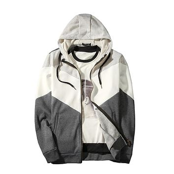 Men's Zipper Hooded Tricolor Stitched Coat Sweaters