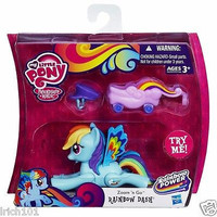 """Hasbro My Little Pony Rainbow Dash """"Zoom n Go"""" With Flutter Wings, Hat and Delivery Cart"""