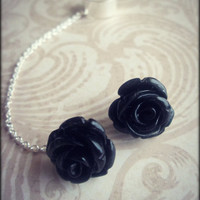 Black rose ear cuff with chain / rose post earring set. Free U.S. shipping thru June.